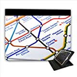 Close Up Tube Map Leicester Square, London For Apple iPad 2, 3 & 4 Faux Leather Folio Presenter Case Cover Bag with Stand Capability