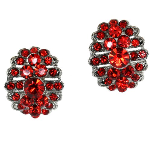 Austrian Crystal Clip-On Earrings - Ruby Red