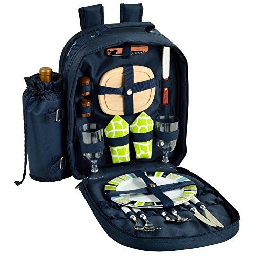 Buy Picnic at Ascot - Deluxe Equipped 2 Person Picnic Backpack with Cooler & Insulated Wine Hold...