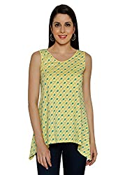 Funk For Hire Women Cotton Synker Knit Kite printed Assymetric Top (Yellow, Size S)