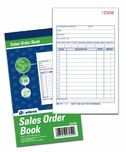 Adams Sales Order Books, 2-Part, Carbonless, White/Canary, 4-3/16 x 7-3/16 Inches, 50 Sets per Book, 3 Books (DC4705-3) (White 50 50 Tickets compare prices)