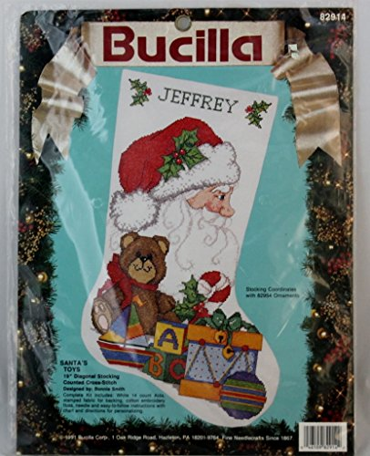 Bucilla Santa's Toys 19-inches long Christmas Stocking Cross Stitch Kit