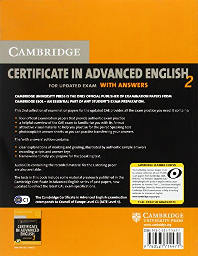 Cambridge Certificate in Advanced English 2 for Updated Exam Student's Book with answers: Official Examination Papers from Cambridge ESOL: No. 2 (CAE Practice Tests)