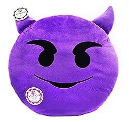 YINGGG Cute Emoji Plush Pillow Round Cushion Toy Gift for Friends/Children (Devil)
