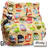 LittleBloom, Reusable Pocket Cloth BAMBOO Nappy, Fastener: Popper, Set of 1, Pattern 4, Without Insert