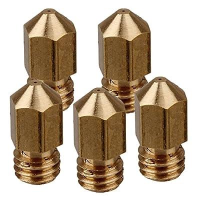 WEONE Yellow Copper 0.3mm M6 Copper Extruder Nozzle Print Head for 1.75mm Filament MK8 RepRap 3D Printer (Pack of 5)