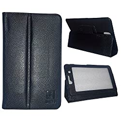 IndiSmack PU Leather Flip Flap Case Cover Stand for iBall Slide Snap 4G2 7 inch Tablet - Black