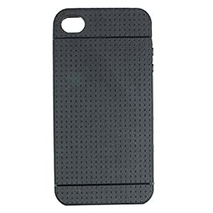 Heartly New Retro Dotted Design Hole Soft TPU Matte Bumper Back Case Cover For Apple iphone 4 4S 4G - Rugged Black