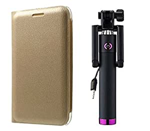 Novo Style Vivo Y31L Folio PU Leather Case Slim Cover with Stand + Wired Selfie Stick No Battery Charging Premium Sturdy Design Best Pocket Sized Selfie Stick