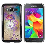 Rubber Case Hard Shell Cover Protective Accessory BY RAYDREAMMM Samsung Galaxy Core Prime SM G360 Happy Rain Window Painting