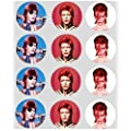 12 David Bowie rice paper fairy / cup cake 40mm toppers pre cut decoration