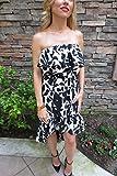 Tolani Morgan Silk Floral Print Ruffle Dress Black & White Size Medium