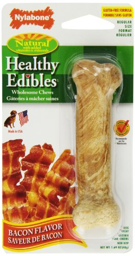 Nylabone Healthy Edibles Bacon With Vitamins, Regular For Dogs Up To 25-Pound