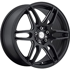 Niche NR6 18 Black Wheel / Rim 4×4.25 & 4×4.5 with a 20mm Offset and a 72.6 Hub Bore. Partnumber M106188034+20