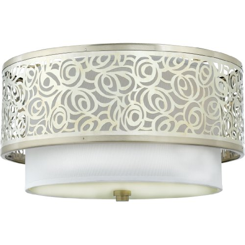 B004745H6W Quoizel JS1615BN Josslyn 2 Light 15-Inch Flush Mount, Brushed Nickel