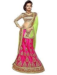 Jiya Presents Embroidered Net Lehenga Choli(Rani,Beige)
