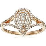 10k Pink Gold White Diamond Ring (1/3cttw, I-J Color, I2-I3 Clarity)