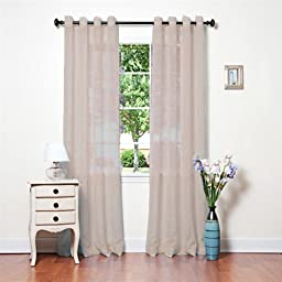 Window Elements Sheer Elegance Textured Faux Linen Grommet Curtain Panel Pair, Taupe by YMF Carpets LLC