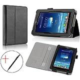 IVSO Leder Hülle Case Folio Tasche Cover mit Ständer für Asus Fonepad 7 ME372CG-1B057A und Asus Fonepad 7 ME373CG 17,7 cm (7 Zoll) Tablet PC (Für Asus Fonepad 7 ME372CG und Fonepad 7 ME373CG, Schwarz)