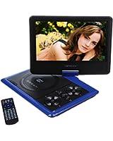 """DBPOWER® 9.5"""" Lecteur DVD Portable avec écran orientable, compatibilité carte SD et interface USB, lit directement les formats MP4, AVI, RMVB, MP3 et JPEG(Bleu, 9.5 pouce)"""