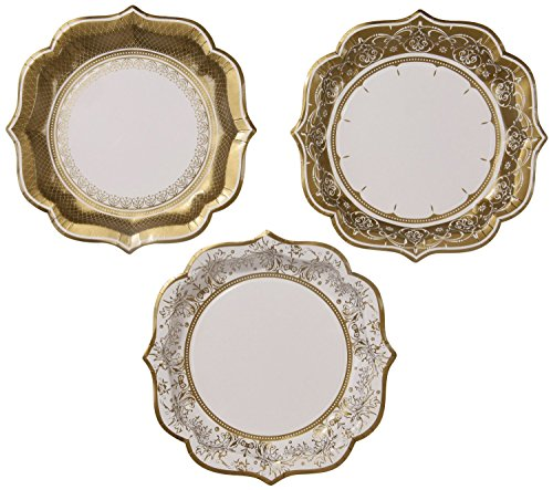 TALKING-TABLES-PARTY-PORCELAIN-GOLD-12-Pack-3-Designs-Plate