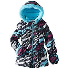 Big Chill Toddler Girls 2-8 Black Zebra Printed Puffer Jacket/Coat