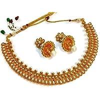 Divinique Jewelry Gorgeous White polki necklace set