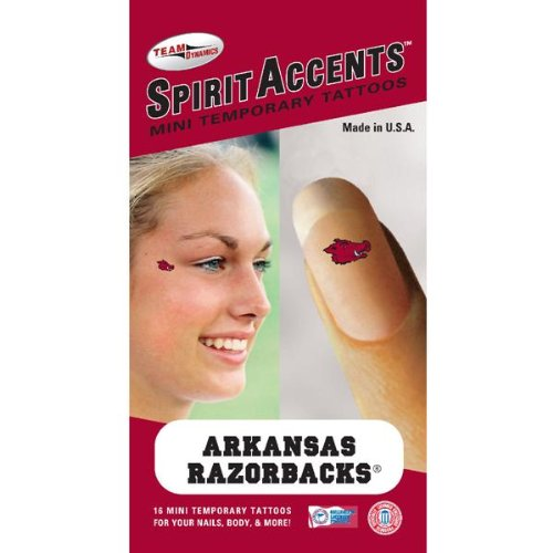 Arkansas Razorbacks 16 Mini Temporary Nail Tattoos at Amazon.com