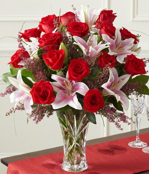 1-800-Flowes Roses and Lilies in Lenox Crystal Vase