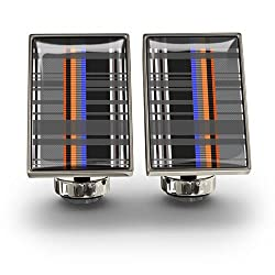 Wurkin Stiffs Men's Plaid Collection Rectangle Cufflinks (Multi Plaid Orange)