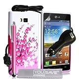 YouSave Accessories LG-FA01-Z094CP Pack de Coque en silicone gel Floraux abeille Rose/Blanc + Stylet + Chargeur allume-cigare + Film de protection d'�cran pour LG Optimus L7 P700