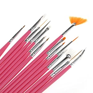 15pcs Acrylic Nail Art Design Painting Tool Pen Polish Brush Set Kit DIY Pro