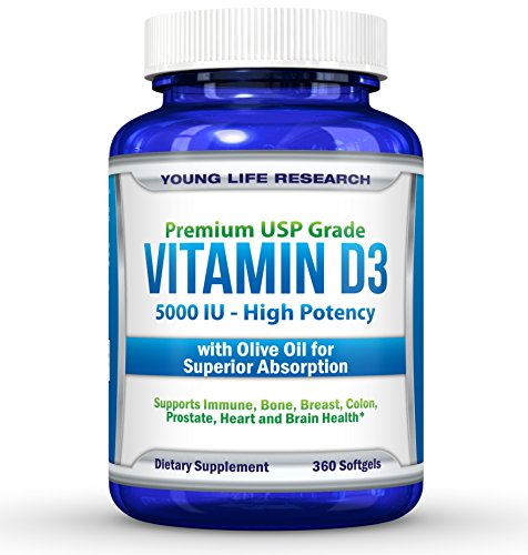 Vitamin D3 5000 IU - In Non GMO Organic Olive Oil - Powerful Health Benefits - 360 Softgels (Vitamin D Eczema compare prices)