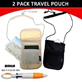 Travel Neck Pouch Wallet Stash 2 Pack - Black and Iviry + Bonus Multi Color PEN