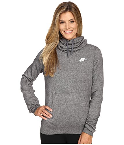 New Nike Women's Sportswear Funnel Neck Hoodie Charcoal Htr/Charcoal Htr/White Medium