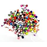 CrazyPiercing Wholesale Lot of 100pcs Belly Navel Button Rings Bar Barbells Ball Acrylic Steel