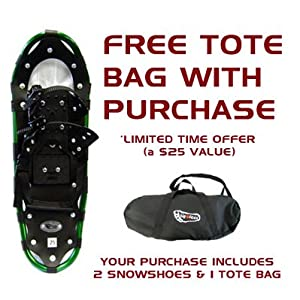 Buy 25 Inch Bigfoot Snowshoes for Adults with Tote Bag - Green by Bigfoot