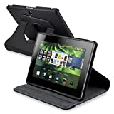 eForCity Swivel Leather Case for BlackBerry Playbook 360, Black