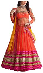 Poonam Fab Women's Georgette Unstitched Lehenga Choli (Orange)