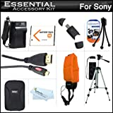"Essential Accessories Kit For Sony Cyber-shot DSC-TX200V, DSC-TX20 Waterproof Digital Camera Includes Extended Replacement (1100 maH) NP-BN1 Battery + AC/DC Charger + Micro HDMI Cable + Floating Strap + USB 2.0 Card Reader + Case + 50"" Tripod w/Case +More"