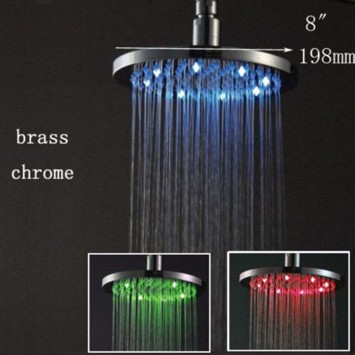 "8"" Led Shower Head Bathroom Round Rainfall Overhead Mirror Polished Chrome Brass Mixer Tap Shower"