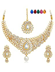 Sukkhi Brilliant Gold Plated AD Necklace Set With Set Of 5 Changeable Stone