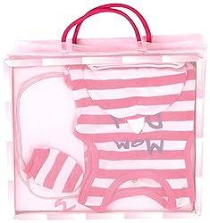 BIO KID Clothing Set for Kids (BG1I-T297-68_0-6 Months, 0-6 Months, Light Pink / Dark Pink)