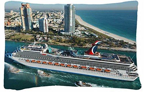 Microfiber Peach Queen Size Decorative Pillowcase -City Miami Beach Boats Images Buildings Sea Travel front-855314