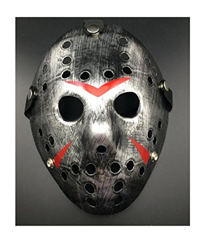 [New Jason vs Freddy The 13th Prop Horror Hockey Costume Cosplay Halloween Mask (Vintage Silver)] (Butterfly Costume Ideas For Adults)