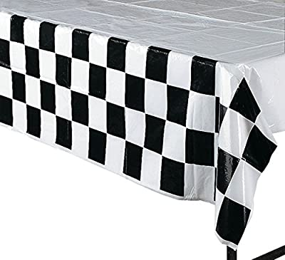 Race Decorations Racing Party Pack Bundle Black & White Checkered (Tablecover, 100 ft Pennant Banner, Racing Finish Line flags, Balloons & Bonus Bag)