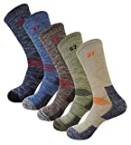 5Pack Men's Multi Performance Cushion Hiking/Outdoor Crew Socks Medium 5Pair Assortment