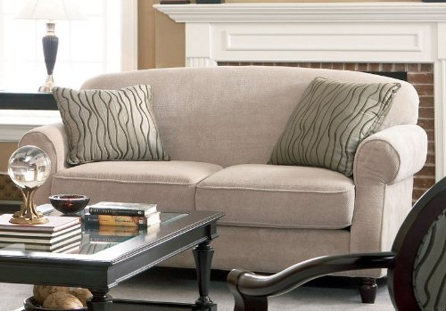 Buy Low Price Coaster Loveseat Sofa with Rolled Arms Beige Chenille Fabric (VF_AZ00-46502×28971)