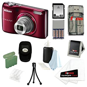 Nikon COOLPIX L26 16.1 MP Digital Camera (Red) + 8GB Deluxe Accessory Kit