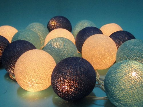 Blue Tone Mix Cotton Ball Patio Party String Lights (20/set)